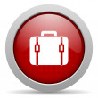 Royalty-Free Stock Photo: Baggage red circle web glossy icon
