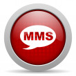 Mms red circle web glossy icon — Foto de stock #24945865