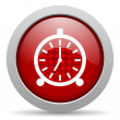 Alarm clock red circle web glossy icon — Stock Photo