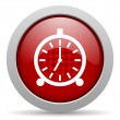 Alarm clock red circle web glossy icon — Стоковая фотография