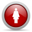 Woman red circle web glossy icon - Stock Photo