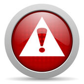 Warning red circle web glossy icon — Stock Photo