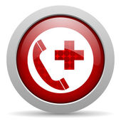 Emergency call red circle web glossy icon — Stock Photo