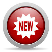 Nuevo icono de la web del círculo rojo brillante — Foto de Stock
