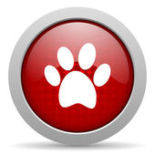 Animal footprint red circle web glossy icon — Stock Photo