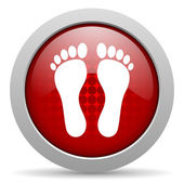 Footprint red circle web glossy icon — Stock Photo