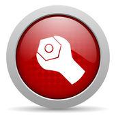 Verktyg röd cirkel web blanka ikonen — Stockfoto