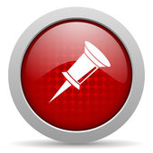 Pin red circle web glossy icon — Stock Photo