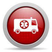 Ambulance red circle web glossy icon — Stock Photo