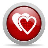 Amo círculo vermelho web ícone brilhante — Foto Stock