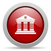 Icono brillante de museo círculo rojo web — Foto de Stock