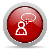 Forum red circle web glossy icon — Stock Photo