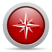 Compass red circle web glossy icon — Stock Photo