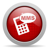 Mms red circle web glossy icon — Stock Photo