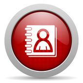 Address book red circle web glossy icon — Stock Photo