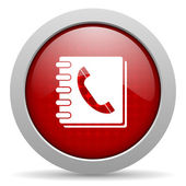 Phonebook red circle web glossy icon — Stock Photo