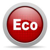 Eco red circle web glossy icon — Stock Photo