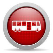 автобус красный круг веб глянцевой значок — Стоковое фото