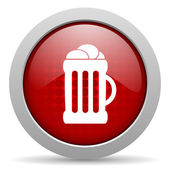 Beer red circle web glossy icon — Stock Photo