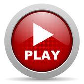 играть красный круг веб глянцевой значок — Стоковое фото