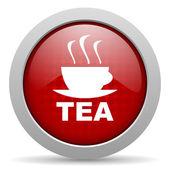 Icono brillante de té círculo rojo web — Foto de Stock