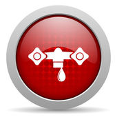 Water red circle web glossy icon — Stock Photo