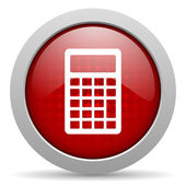 Calculator red circle web glossy icon — Stock Photo