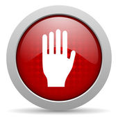 Stop red circle web glossy icon — Stock Photo