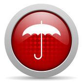 Guarda-chuva círculo vermelho web lustrosa ícone — Foto Stock