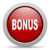 Bonus red circle web glossy icon — Stock Photo