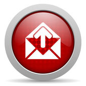 Mail red circle web glossy icon — Stock Photo