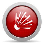Bomb red circle web glossy icon — Stock Photo