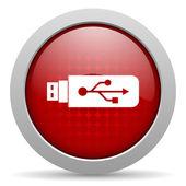 Icono brillante del web de círculo rojo usb — Foto de Stock
