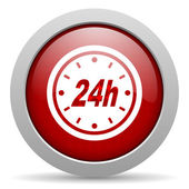 24h red circle web glossy icon — Stock Photo