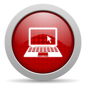 Notebook red circle web glossy icon — Stock Photo