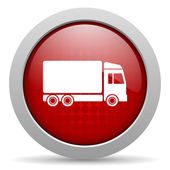 Delivery red circle web glossy icon — Stock Photo