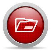 Folder red circle web glossy icon — Stock Photo
