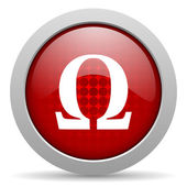 Icono brillante de omega círculo rojo web — Foto de Stock