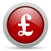 фунт красный круг веб глянцевой значок — Стоковое фото