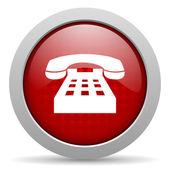 блестящий значок телефона красный круг веб — Стоковое фото