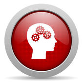 Head red circle web glossy icon — Stock Photo