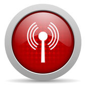 Wifi red circle web glossy icon — Stock Photo
