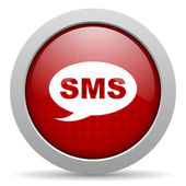 Sms red circle web glossy icon — Stock Photo