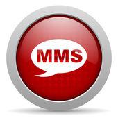 Mms círculo vermelho web lustrosa ícone — Foto Stock