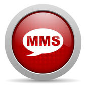 Mms red circle web glossy icon — Foto Stock