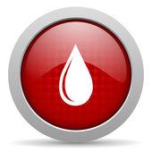 Water drop red circle web glossy icon — Stock Photo