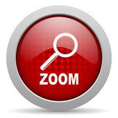 ズーム赤丸 web 光沢のあるアイコン — ストック写真