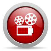 Cinema red circle web glossy icon — Stock Photo