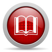 Book red circle web glossy icon — Stock Photo