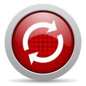 Reload red circle web glossy icon — Stock Photo